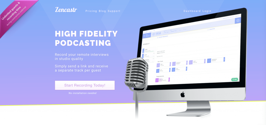 Zencastr podcast software
